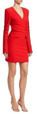 Jonathan Simkhai Stapled Sleeve Compact Stretch Wool Wrap Dress