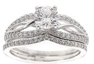 FINE JEWELRY DiamonArt Cubic Zirconia Sterling Silver Infinity Bridal Ring Set