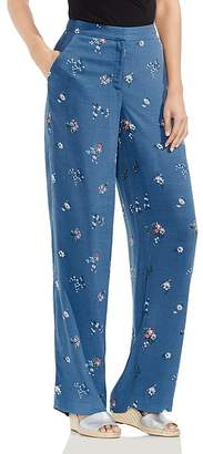 Vince Camuto Bouquet-Print Wide-Leg Pants