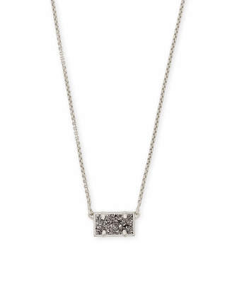 Kendra Scott Pattie Antique Silver Pendant Necklace in Platinum Drusy