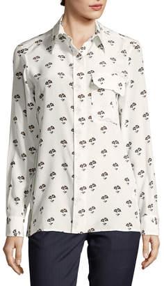 Victoria Beckham Floral Button-Front Shirt