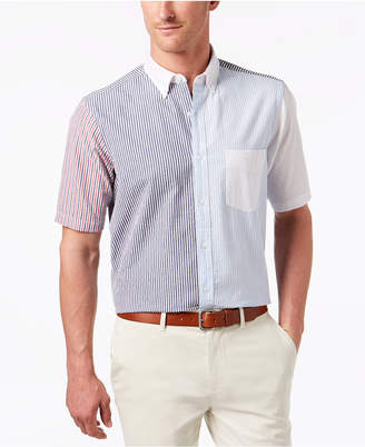 Club Room Men's Patchwork Colorblocked Stripe Seersucker Pocket Shirt, Created for Macy's