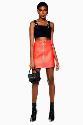 Topshop Womens Pu Mini Skirt - Red
