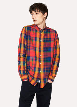 Paul Smith Men's Tailored-Fit Red Check Cotton Button-Down Shirt
