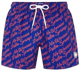Topman Mens Blue And Red Palm Springs Swim Shorts