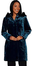 Isaac Mizrahi Live! Velvet Puffer Coat withFaux Fur Hood