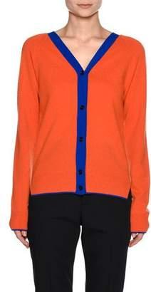 Marni Contrast-Trim V-Neck Cashmere-Blend Cardigan, Orange