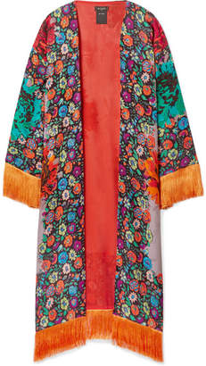 Etro Fringed Floral-print Satin-jacquard Kimono - Orange