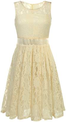 ANGVNS Floral Lace Party Dress Short Prom Dress Round Neck
