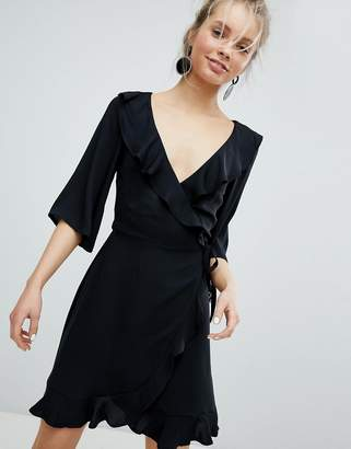 Monki Ruffle Wrap Dress