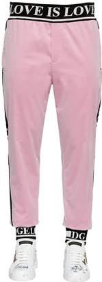 Dolce & Gabbana Logo Band Velvet Track Pants