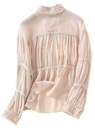 Goodnight Macaroon 'Ravin' Ruched High Neck Blouse