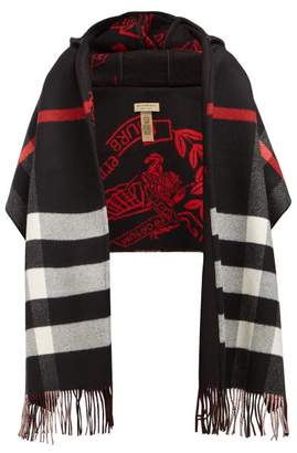 Burberry St Helen Checked Wool And Cashmere Scarf - Womens - Black