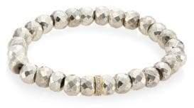 Sydney Evan Silver Pyrite, Diamond& 14K Yellow Gold Rondelle Spacer Bracelet