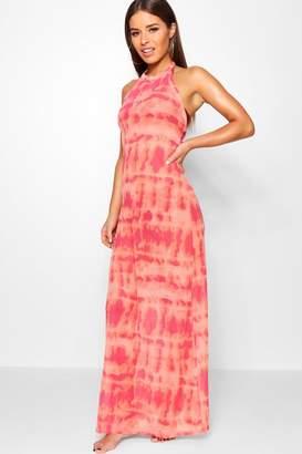 boohoo Petite Tie Dye Halterneck Beach Maxi Dress