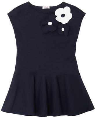 Il Gufo Cotton Jersey Dress W/ Flower Appliqués