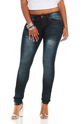 CG JEANS Skinny Leg Blue Junior Fit Slim Mid Waist Cute Biker Vibrant