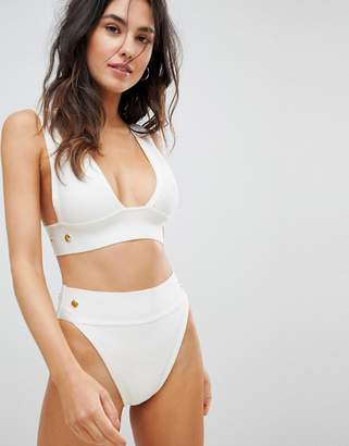 Asos DESIGN Gold Stud Detail Bandage High Leg High Waist Bikini Bottom