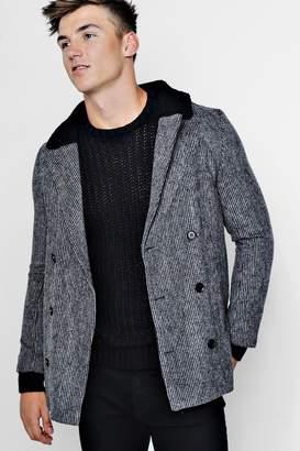 boohoo Borg Collar Double Breasted Wool Look Coat