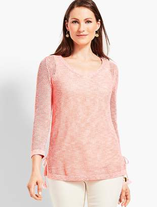 Talbots Space-Dye Mesh Side-Tie Sweater