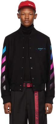 Off-White Black Gradient Diagonal Bomber Jacket