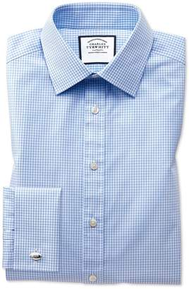 Charles Tyrwhitt Extra Slim Fit Light Sky Blue Small Gingham Cotton Dress Shirt French Cuff Size 16/33