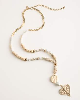 Chico's Chicos Beaded Neutral Long Pendant Necklace
