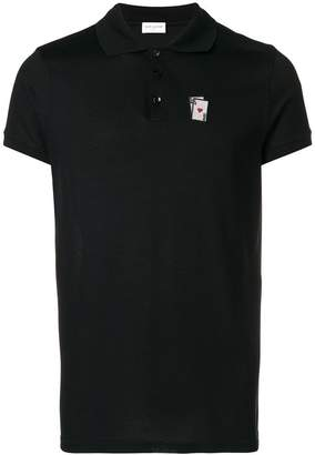 Saint Laurent card embroidered polo shirt