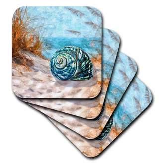 3drose 3dRose Blue seashell on the beach in an ocean cove with summer grasses., Ceramic Tile Coasters, set of 4