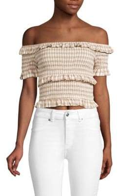 d286aafb0bcc39 Moon River Smocked Off-The-Shoulder Gingham Crop Top