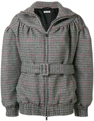 belted check bomber jacket