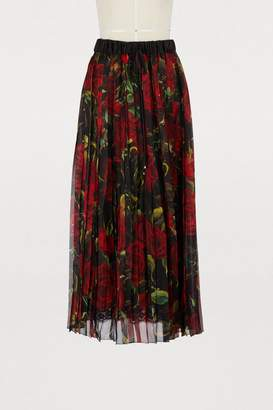 Dolce & Gabbana Red Roses printed silk skirt
