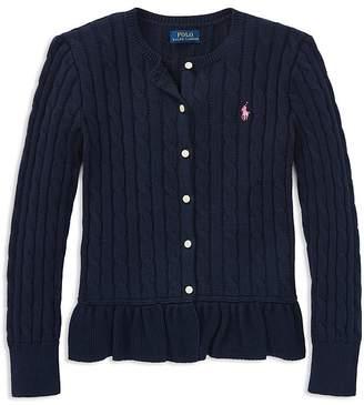 Polo Ralph Lauren Girls' Cotton Ruffled Cardigan - Little Kid