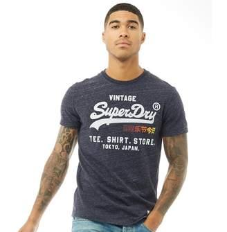 Superdry Mens Shirt Shop Surf T-Shirt Midnight Blue Snowy