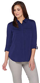 Isaac Mizrahi Live! Woven Utility Blouse withLace Back