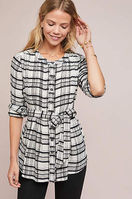 Anthropologie Belted Plaid Tunic