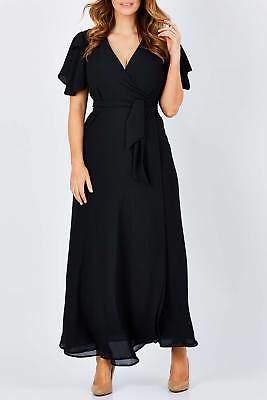 NEW bird by design Womens Maxi Dresses The Wrap Maxi Dress Size 6 Black