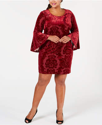 04a0875c989 Robbie Bee Plus Size Velvet Burnout Sheath Dress