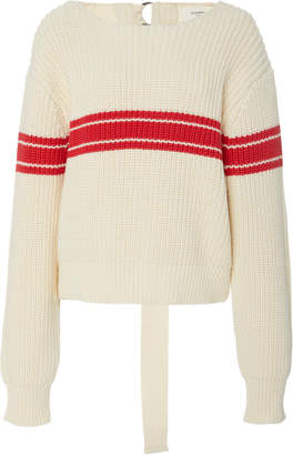Bassike Keyhole Cotton Wool Striped Sweater