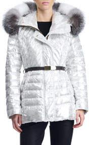 Apres-Ski Down-Fill Metallic Jacket with Fox Fur Hood