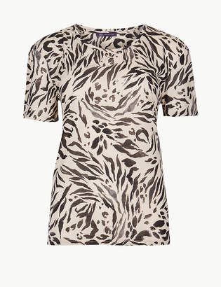 Marks and Spencer Animal Print Short Sleeve T-Shirt