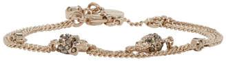 Alexander McQueen Gold Double Chain Skull Bracelet