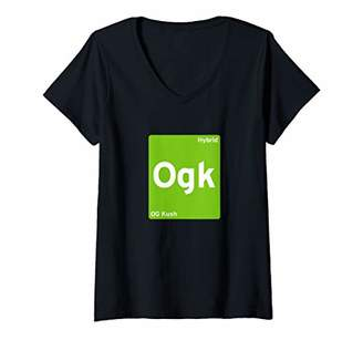 Womens OG Kush Cannabis Strain V-Neck T-Shirt