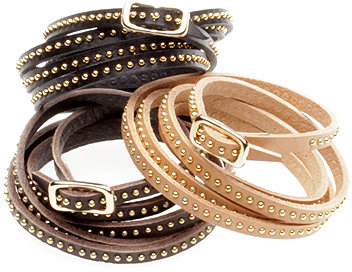 Vale. Leather Studded Wrap Bracelet