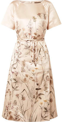 Bottega Veneta Printed Duchesse-satin Dress - Ivory