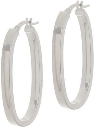 "Sterling Silver 1-1/2"" Elongated Oval Hoop Earrings by Silver Style"