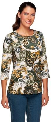 Denim & Co. Perfect Jersey 3/4 Sleeve Paisley Print T-shirt