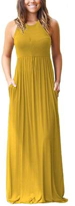 Freemale Womens Sleeveless Solid Casual Long Maxi Dresses with Pocket