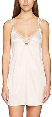Mae Women's Satin Chemise With Lace
