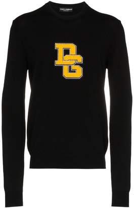 Dolce & Gabbana flocked logo applique virgin wool sweater